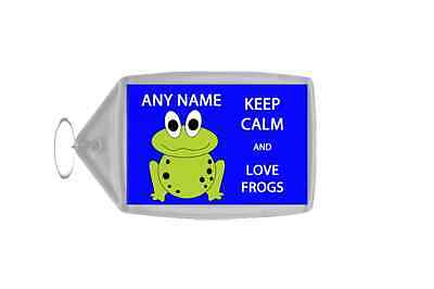 Keep Calm And Love Frogs Personalised Large Keyring