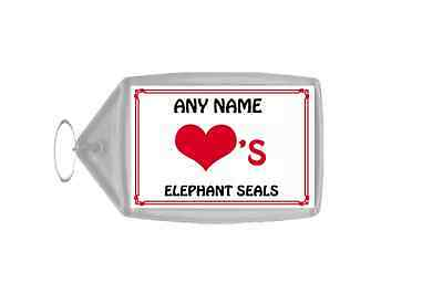 Love Heart Elephant Seals Personalised Keyring