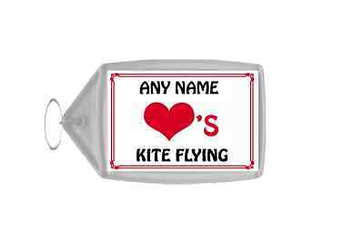 Love Heart Kite Flying Personalised Keyring