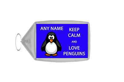 Keep Calm And Love Penguins Blue Personalised Large Keyring