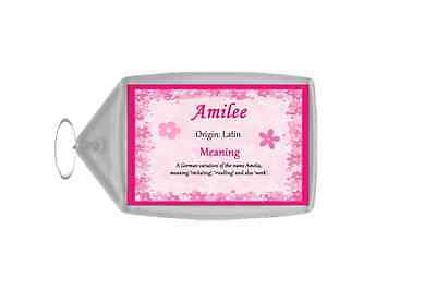 Amilee Personalised Name Meaning Keyring