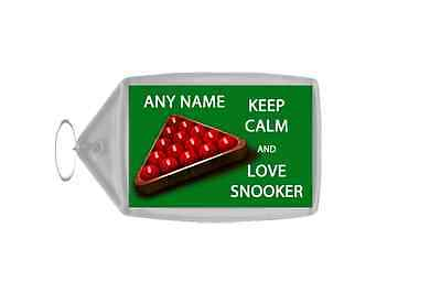 Keep Calm And Love Snooker Personalised Large Keyring
