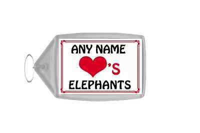 Love Heart Elephants Personalised Keyring