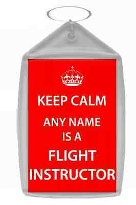 Flight Instructor Personalised Keep Calm Keyring