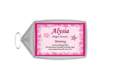 Alysia Personalised Name Meaning Keyring