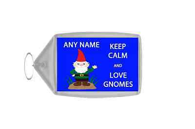 Keep Calm And Love Gnomes Personalised Large Keyring