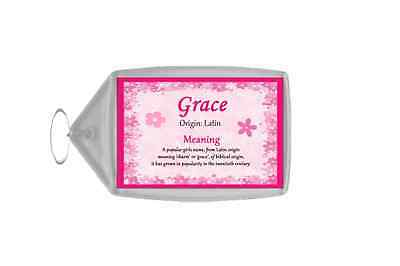 Grace Personalised Name Meaning Keyring