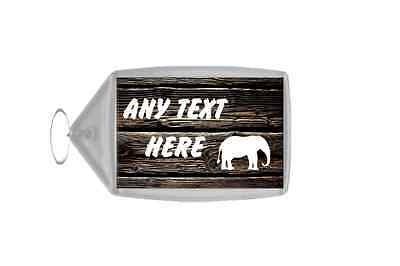 Dark Wood Elephant Personalised Keyring