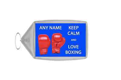 Keep Calm And Love Boxing Personalised Large Keyring