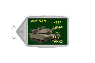 Keep Calm And Love Tanks Personalised Large Keyring