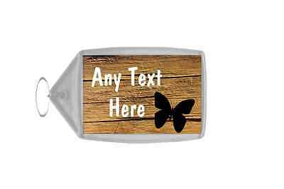 Cracked Wood Butterfly Personalised Keyring