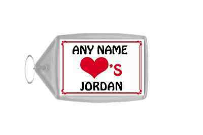 Love Heart Jordan Personalised Keyring