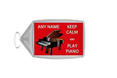 Keep Calm And Love Play Piano Personalised Large Keyring