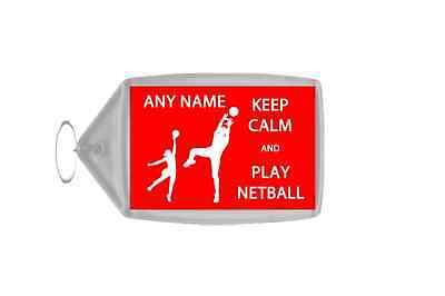 Keep Calm And Play Netball Personalised Large Keyring