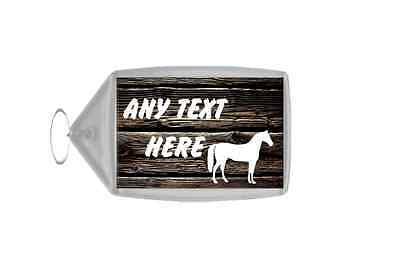Dark Wood Horse Personalised Keyring