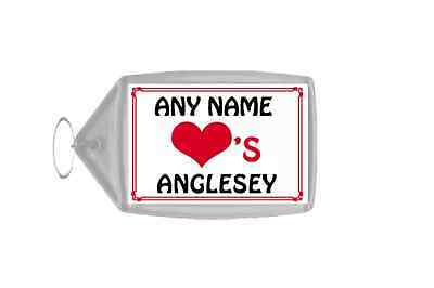 Love Heart Anglesey Personalised Keyring