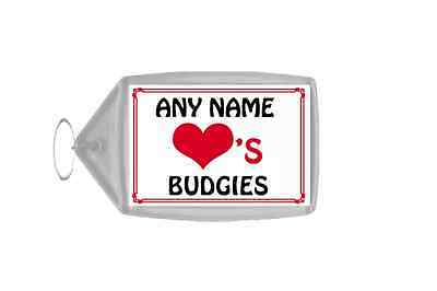 Love Heart Budgies Personalised Keyring