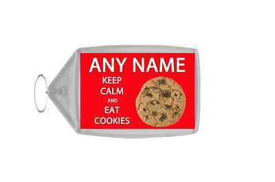 Keep Calm And Eat Cookies Personalised Large Keyring