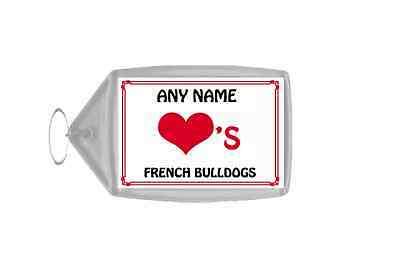 Love Heart French Bulldogs Personalised Keyring