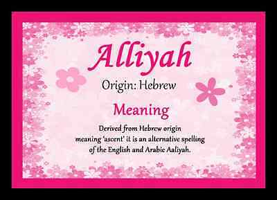 Alliyah Personalised Name Meaning Placemat