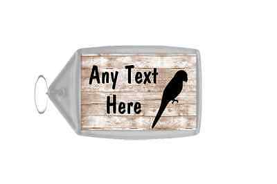 Parrot Shabby Wooden Effect Personalised Keyring