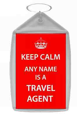 Travel Agent Personalised Keep Calm Keyring