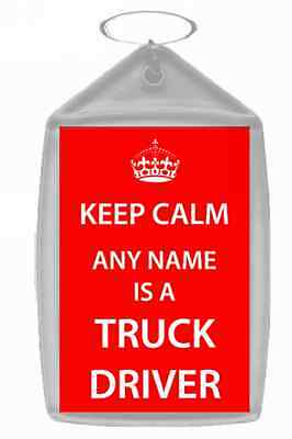 Truck Driver Personalised Keep Calm Keyring