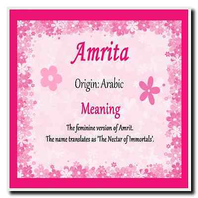 Amrita Personalised Name Meaning Coaster