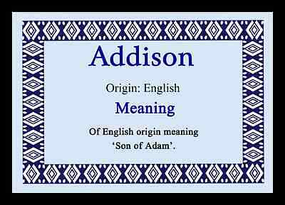 Addison Personalised Name Meaning Placemat