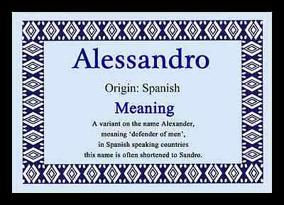 Alessandro Personalised Name Meaning Placemat