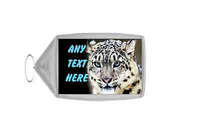 Snow Leopard Personalised Keyring