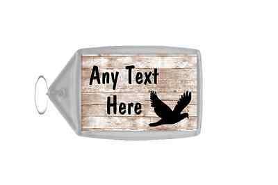 Pigeon Bird Shabby Wooden Effect Personalised Keyring