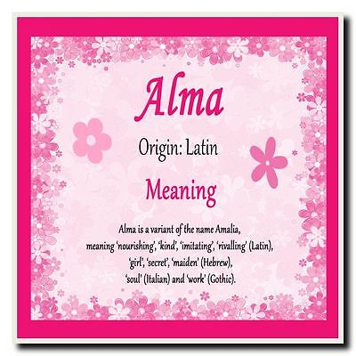 Alma Personalised Name Meaning Coaster