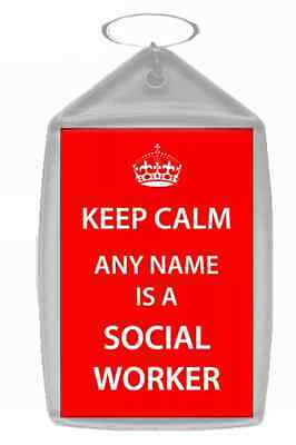 Social Worker Personalised Keep Calm Keyring