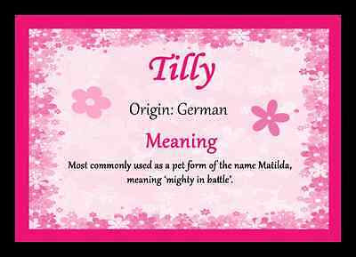 Tilly Personalised Name Meaning Placemat