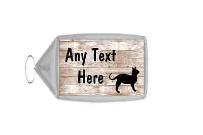 Shabby Wooden Effect Cat Personalised Keyring