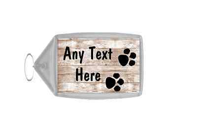 Shabby Wooden Effect Paw Prints Personalised Keyring