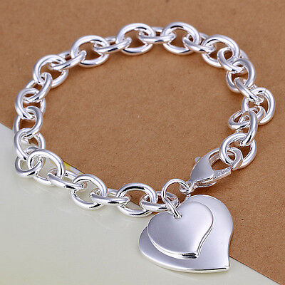 925 Silver Plated Double Heart Bracelet Bangle Women Fashion Jewellry UK