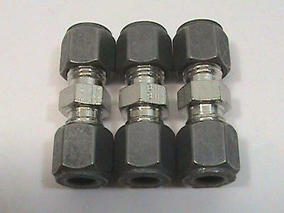 "3 ea Parker 4-4 HBZ-SS 1/4"" CPI Union 1/4"" tube fitting x 1/4"" tube fitting NOS"