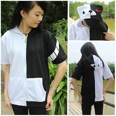 Anime Dangan Ronpa Mono Kuma Cosplay Black White Bear Zipper Hoodie T-shirt Tee
