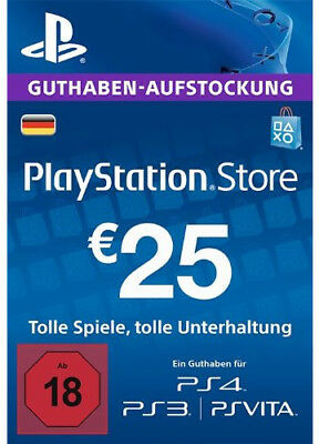 DE €25 PLAYSTATION NETWORK Prepaid Card 25 EUR PSN Karte Key PS3 PS4 PSP Code
