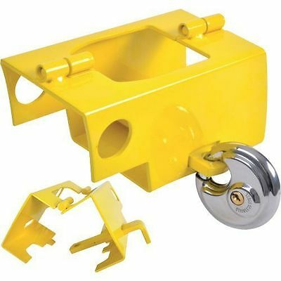 New Universal Hitchlock Yellow Caravan Trailer Hitch Coupling Lock With Padlock