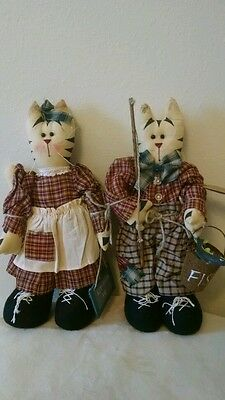 Two Adorable Hand Crafted Country Cloth Cat Dolls