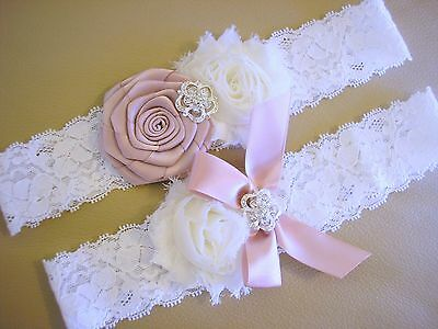Wedding Bridal Garter Set White Stretch Lace Vintage Pink Rosette Crystal Luxe