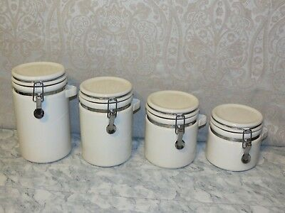 Anchor Home Collection Winsome Ceramic White 4-Canister Set w/ Spring Closure