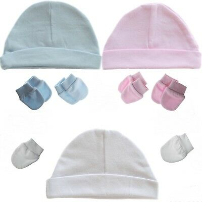 PLAIN Baby Hat & 2 Pairs Scratch Mittens 100% Cotton Newborn Boy Girl Mitts