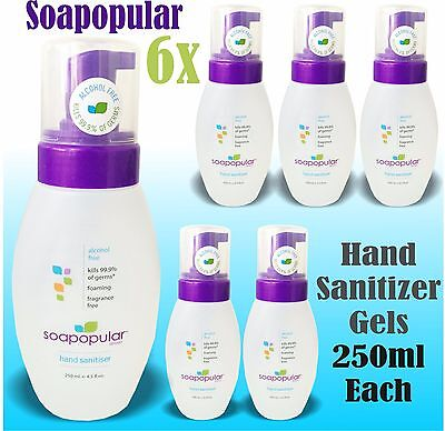 6x Soapopular Hand Sanitizer GELS 250ml Travel Alcohol Free Wash pump style kids
