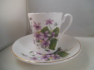 Vintage Royal Grafton Bone China Demitasse Cup & Saucer Violets Purple Flowers