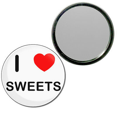 I Love Sweets - Round Compact Glass Mirror 55mm/77mm BadgeBeast
