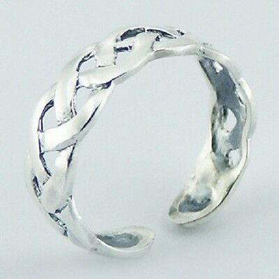 Toe ring 925 sterling silver celtic knot band ring size adjustable 5mm wide